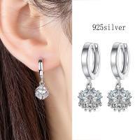 925 Sterling Silber Drop & amp; Ohrringe baumeln, 925er Sterling Silber, platiniert, Micro pave Zirkonia & für Frau, 12x22mm, 5mm, verkauft von Paar