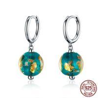 925 Sterling Silber Drop & amp; Ohrringe baumeln, 925er Sterling Silber, mit Lampwork, rund, platiniert, für Frau, 26x10mm, verkauft von Paar