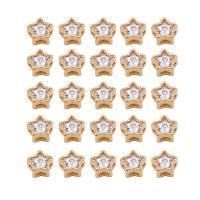 Befestigte Zirkonia Perlen, Messing, Stern, goldfarben plattiert, DIY & Micro pave Zirkonia, metallische Farbe plattiert, 6x4mm, 10PCs/Menge, verkauft von Menge