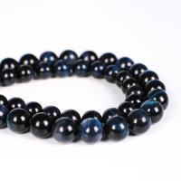 Tigerauge Perlen, rund, verschiedene Größen vorhanden, schwarzblau, verkauft per ca. 15 ZollInch Strang
