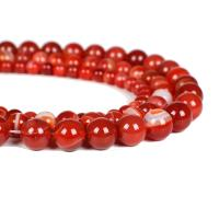 Streifen Achat Perle, rund, poliert, verschiedene Größen vorhanden, rot, verkauft per ca. 16 ZollInch Strang