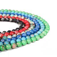 Synthetische Türkis Perle, rund, verschiedene Größen vorhanden, keine, verkauft per ca. 15.5 ZollInch Strang
