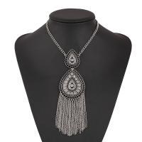 Zinklegierung Pullover Halskette, plattiert, für Frau & mit Strass, keine, frei von Nickel, Blei & Kadmium, verkauft per 18.9 ZollInch Strang
