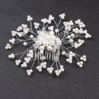 Dekoratives Haarkämmchen, Zinklegierung, mit Kristall & Glasperlen, plattiert, für Frau, weiß, frei von Nickel, Blei & Kadmium, 130x110mm, verkauft von PC