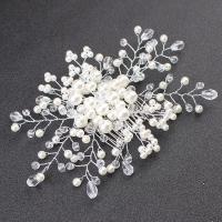 Dekoratives Haarkämmchen, Zinklegierung, mit Kristall & Glasperlen, plattiert, für Frau, weiß, frei von Nickel, Blei & Kadmium, 170x110mm, verkauft von PC