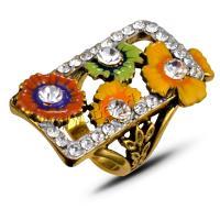 Zinklegierung Fingerring, mit Strass, unisex, antik goldfarben, 36x19mm, 3Spulen/Menge, verkauft von Menge