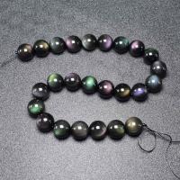 Schwarze Obsidian Perlen, rund, verschiedene Größen vorhanden, farbenfroh, verkauft per ca. 16 ZollInch Strang