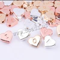 Zinklegierung Zwischenperlen, Herz, Buchstaben sind von A bis Z & unisex, keine, 10mm, 2setzenSatz/Menge, verkauft von Menge