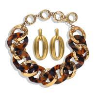 Zinklegierung Schmucksets, Ohrring & Halskette, mit Acryl, plattiert, für Frau, keine, frei von Nickel, Blei & Kadmium, verkauft von setzen