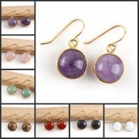 Natürliche Quarz Ohrringe, Natürlicher Quarz, rund, goldfarben plattiert, für Frau, keine, 13x7mm, verkauft von Paar