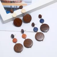 Holz Ohrring, goldfarben plattiert, für Frau, keine, 68x30mm, verkauft von Paar
