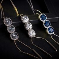 Zinklegierung Pullover Halskette, plattiert, einstellbar & Schlangekette & Micro pave Zirkonia & für Frau, keine, frei von Nickel, Blei & Kadmium, 15x45mm,28mm, verkauft von Strang