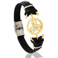 Lederband Armband, Kunstleder, mit Edelstahl, rund, für den Menschen, 10mm, verkauft per 8.26 ZollInch Strang