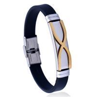 Silikon Armbänder, Edelstahl, mit Silikon, rund, für den Menschen, 10mm, verkauft per 8.26 ZollInch Strang