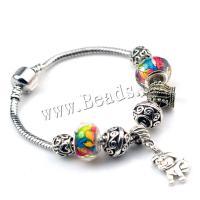 European Armband, Zinklegierung, mit Lampwork, plattiert, verschiedene Größen vorhanden & für Frau, metallische Farbe plattiert, 5SträngeStrang/Menge, verkauft von Menge