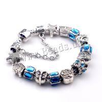 European Armband, Zinklegierung, mit Messing, plattiert, verschiedene Größen vorhanden & für Frau & mit Strass, blau, 5SträngeStrang/Menge, verkauft von Menge