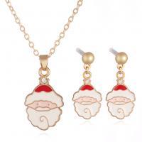 Zinklegierung Schmucksets, Ohrring & Halskette, Rósegold-Farbe plattiert, für Frau & Emaille, frei von Nickel, Blei & Kadmium, verkauft von setzen
