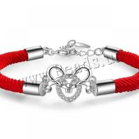 Messing-Armbänder, Messing, mit Gewachsten Baumwollkordel, plattiert, für Frau, frei von Nickel, Blei & Kadmium, 165x185x13mm, verkauft per ca. 64.96 ZollInch Strang