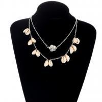 Mode-Multi-Layer-Halskette, Zinklegierung, mit Pearl Shell, plattiert, für Frau, frei von Nickel, Blei & Kadmium, verkauft von Strang