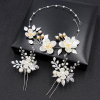 Gemischter Haarschmuck, Stirnband & Haar-Stick, Zinklegierung, mit Kunststoff Perlen, plattiert, für Frau, keine, frei von Nickel, Blei & Kadmium, 400x30mmuff0c100x40mm, verkauft von Strang
