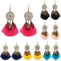 Mode-Feder-Ohrring, Zinklegierung, mit Feder, Traumfänger, antike Bronzefarbe plattiert, Bohemian-Stil, keine, frei von Nickel, Blei & Kadmium, 100x26mm, verkauft von Paar