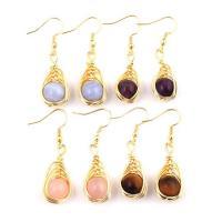 Edelstein Ohrringe, mit Messing, goldfarben plattiert, für Frau, keine, 45x10mm, verkauft von Paar