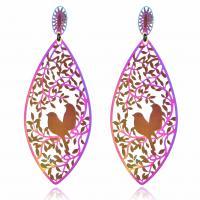 Edelstahl Tropfen Ohrring, Einbrennlack, für Frau, farbenfroh, verkauft von Paar
