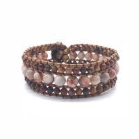 Lederband Wrap Armband, mit Achat & Zinklegierung, unisex, farbenfroh, 200mm, 2PCs/Menge, verkauft von Menge