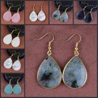 Edelstein Ohrringe, mit Messing, Tropfen, goldfarben plattiert, für Frau, keine, 50x23mm, verkauft von Paar