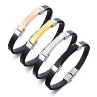 PU Leder Armband, mit Edelstahl, plattiert, für den Menschen, keine, 38x7mm, verkauft von Strang