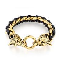 Titan Edelstahl Armband, Titanstahl, mit PU Leder, für den Menschen, keine, 215x15mm, 2PCs/Menge, verkauft von Menge
