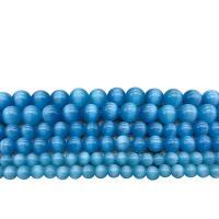 Katzenauge Perle, rund, poliert, DIY & verschiedene Größen vorhanden, blau, verkauft von Strang