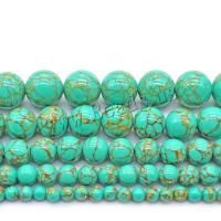 Türkis Perlen, rund, poliert, DIY & verschiedene Größen vorhanden, grün, verkauft von Strang