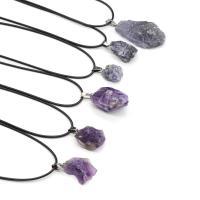 Quarz Halskette, Natürlicher Quarz, mit PU Leder, plattiert, unisex, keine, 15-25mm, verkauft per ca. 15.7 ZollInch Strang