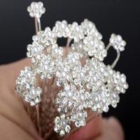 Zinklegierung Broschen, Blume, silberfarben plattiert, Hochzeitsgeschenk & mit Kunststoff-Perlen & mit Strass, Silberfarbe, frei von Nickel, Blei & Kadmium, 65x10mm, 20PCs/Tasche, verkauft von Tasche