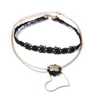 Mode-Halskette, Messing, mit Spitze, für Frau, goldfarben, 3SetsSatz/Menge, verkauft von Menge