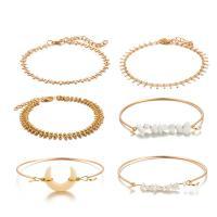 Zinklegierung Armband, Armreif & Armband, goldfarben plattiert, für Frau, frei von Nickel, Blei & Kadmium, 6SträngeStrang/setzen, verkauft von setzen