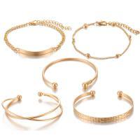 Zinklegierung Armband, goldfarben plattiert, für Frau, frei von Nickel, Blei & Kadmium, 45mm, 5SträngeStrang/setzen, verkauft von setzen