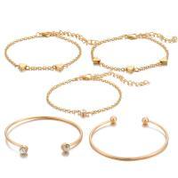Zinklegierung Armband, goldfarben plattiert, für Frau & mit Strass, frei von Nickel, Blei & Kadmium, 5SträngeStrang/setzen, verkauft von setzen