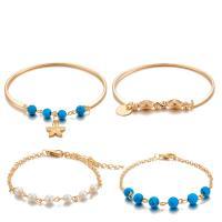 Zinklegierung Armband, mit Kunststoff Perlen, goldfarben plattiert, für Frau, frei von Nickel, Blei & Kadmium, 40mm, 4SträngeStrang/setzen, verkauft von setzen