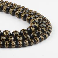 Natürliche schwarze Achat Perlen, Schwarzer Achat, rund, schwarz, 8x8x8mm, 48/Strang, verkauft von Strang