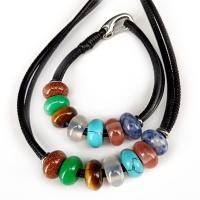 Edelstein Schmucksets, Armband & Halskette, unisex, gemischte Farben, 18x14mm, verkauft von Strang
