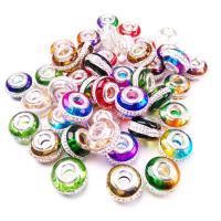 Kristall-Perlen, Kristall, Einbrennlack, DIY & mit Strass & glatt & großes Loch, mehrere Farben vorhanden, 15x10mm, Bohrung:ca. 5mm, verkauft von PC