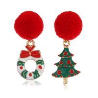 Weihnachten Ohrringe, Zinklegierung, mit Caddice, Weihnachtsbaum, plattiert, Weihnachtsschmuck & für Frau, frei von Nickel, Blei & Kadmium, 42x17mm, verkauft von Paar