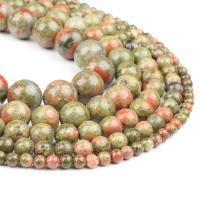 Unakit Perlen, Unakite, rund, poliert, grün, 4x4x4mm, 98/Strang, verkauft von Strang