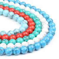 Synthetische Türkis Perle, rund, poliert, keine, 4x4x4mm, 98PC/Strang, verkauft von Strang