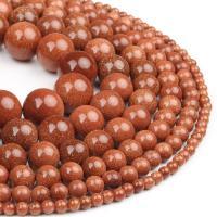 Goldstein Perlen, Goldsand, rund, poliert, rot, 4x4x4mm, 98PC/Strang, verkauft von Strang