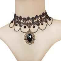 Kragen Halskette, Spitze, mit Kunststoff Perlen & Zinklegierung, plattiert, für Frau, schwarz, 300mm, verkauft von Strang