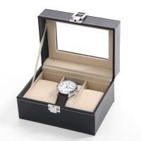 Uhr Schmuckkasten, PU Leder, mit Baumwollsamt & Glas & Edelstahl, unisex, schwarz, 160x110x80mm, verkauft von PC