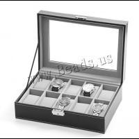 Uhr Schmuckkasten, PU Leder, mit Baumwollsamt & Glas & Edelstahl, unisex, schwarz, 275x195x90mm, verkauft von PC